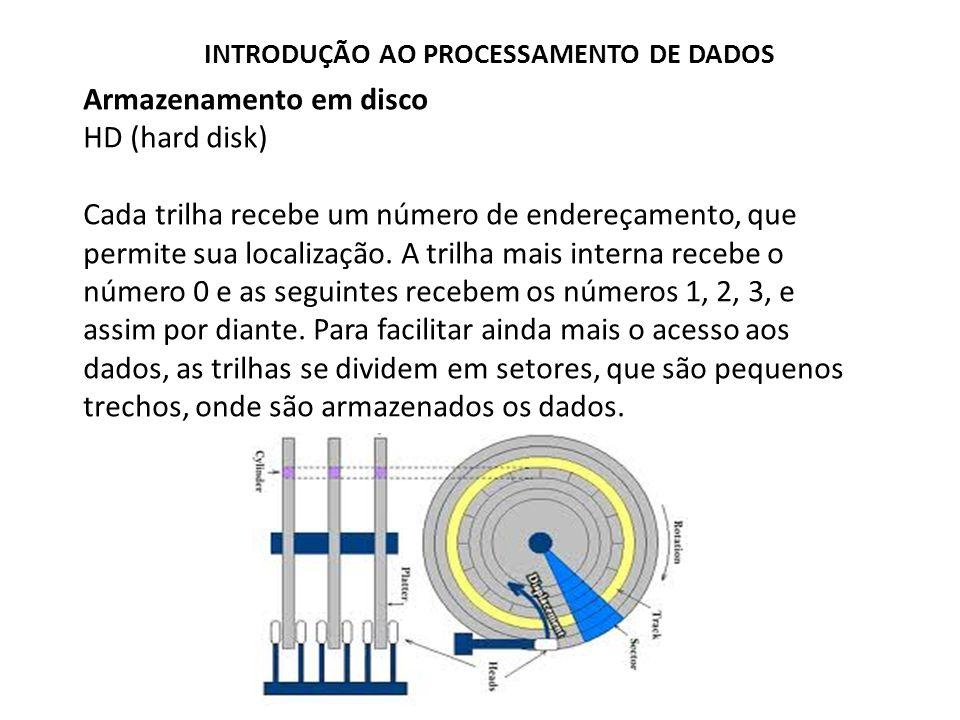 Armazenamento em disco HD (hard disk) Cada trilha recebe um número de endereçamento, que permite sua localização. A trilha mais interna recebe o númer