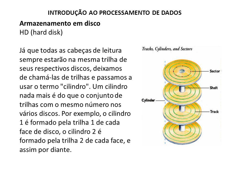 Armazenamento em disco HD (hard disk) Já que todas as cabeças de leitura sempre estarão na mesma trilha de seus respectivos discos, deixamos de chamá-