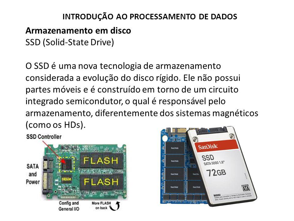 Armazenamento em disco SSD (Solid-State Drive) O SSD é uma nova tecnologia de armazenamento considerada a evolução do disco rígido. Ele não possui par