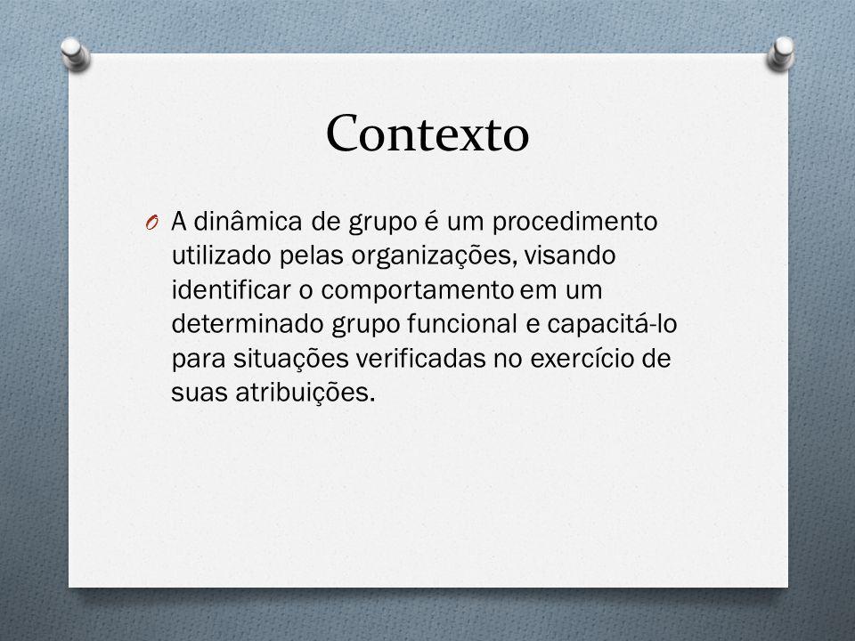 Contexto O A dinâmica de grupo é um procedimento utilizado pelas organizações, visando identificar o comportamento em um determinado grupo funcional e
