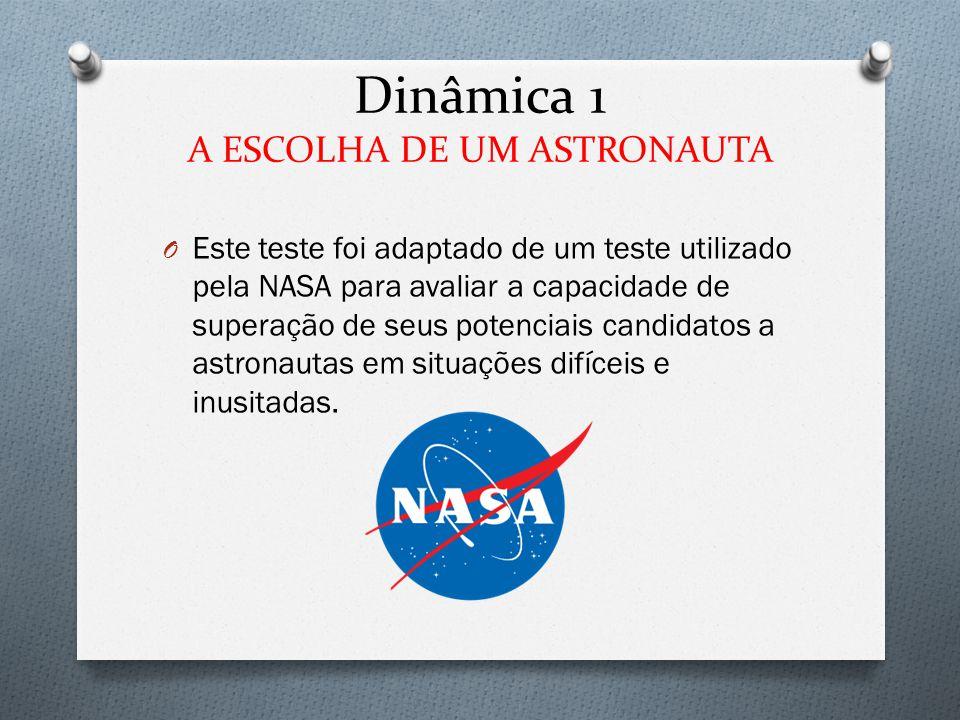 Dinâmica 1 A ESCOLHA DE UM ASTRONAUTA O Este teste foi adaptado de um teste utilizado pela NASA para avaliar a capacidade de superação de seus potenci