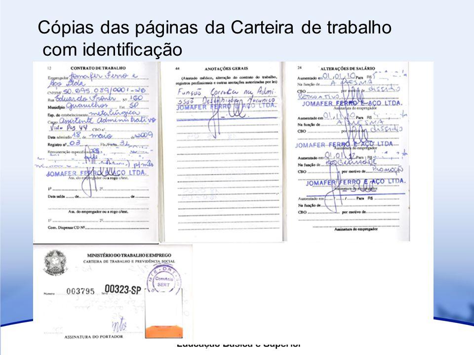 Cópias das páginas da Carteira de trabalho com identificação
