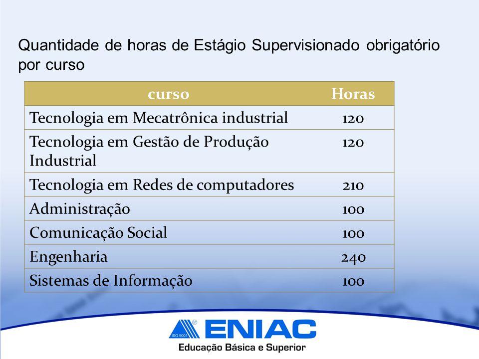 Quantidade de horas de Estágio Supervisionado obrigatório por curso cursoHoras Tecnologia em Mecatrônica industrial120 Tecnologia em Gestão de Produçã