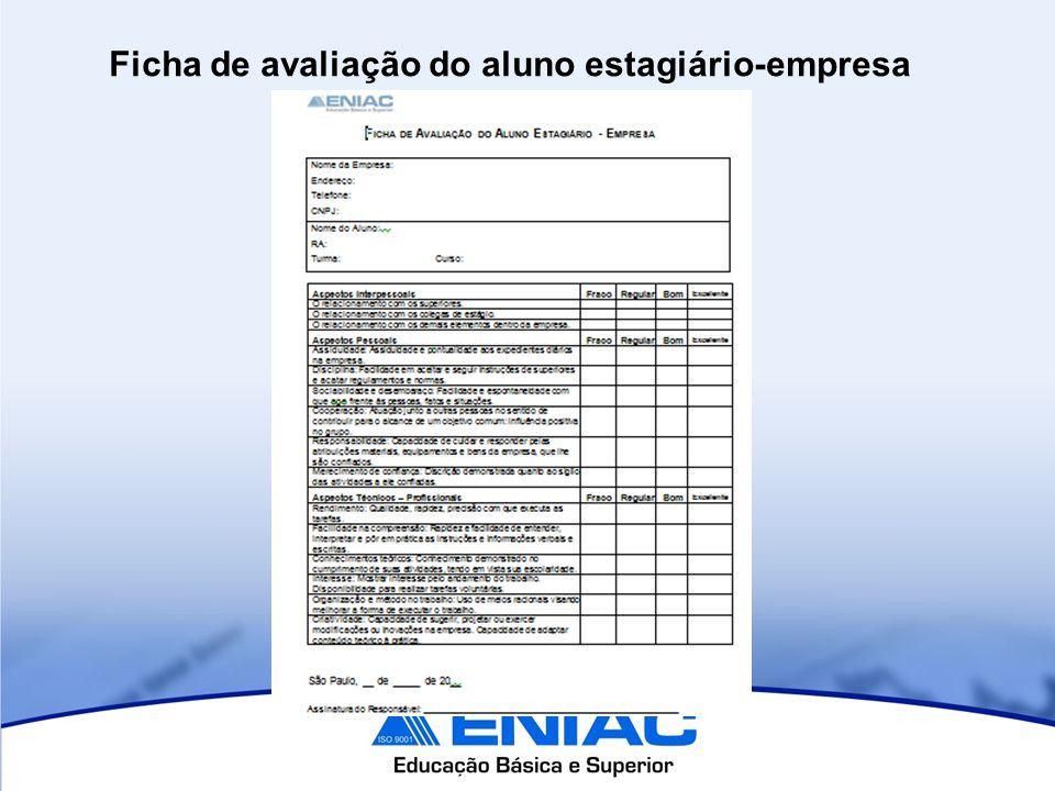 Ficha de avaliação do aluno estagiário-empresa