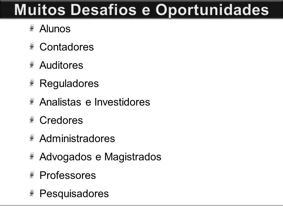 Alunos Contadores Auditores Reguladores Analistas e Investidores Credores Administradores Advogados e Magistrados Professores Pesquisadores