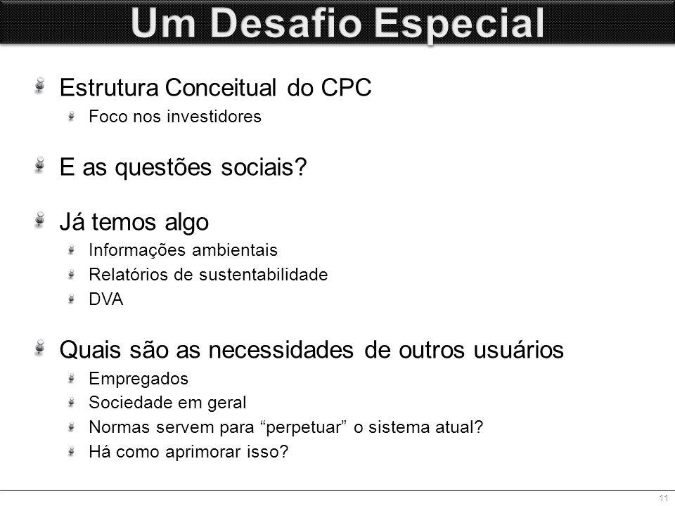 Estrutura Conceitual do CPC Foco nos investidores E as questões sociais.