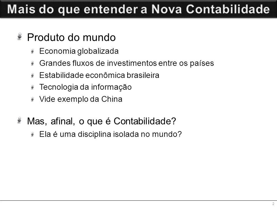 Produto do mundo Economia globalizada Grandes fluxos de investimentos entre os países Estabilidade econômica brasileira Tecnologia da informação Vide exemplo da China Mas, afinal, o que é Contabilidade.