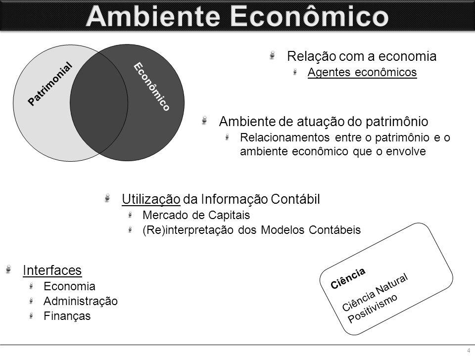 Utilização da Informação Contábil Mercado de Capitais (Re)interpretação dos Modelos Contábeis 4 Ambiente de atuação do patrimônio Relacionamentos entre o patrimônio e o ambiente econômico que o envolve Relação com a economia Agentes econômicos Patrimonial Econômico Ciência Ciência Natural Positivismo Interfaces Economia Administração Finanças