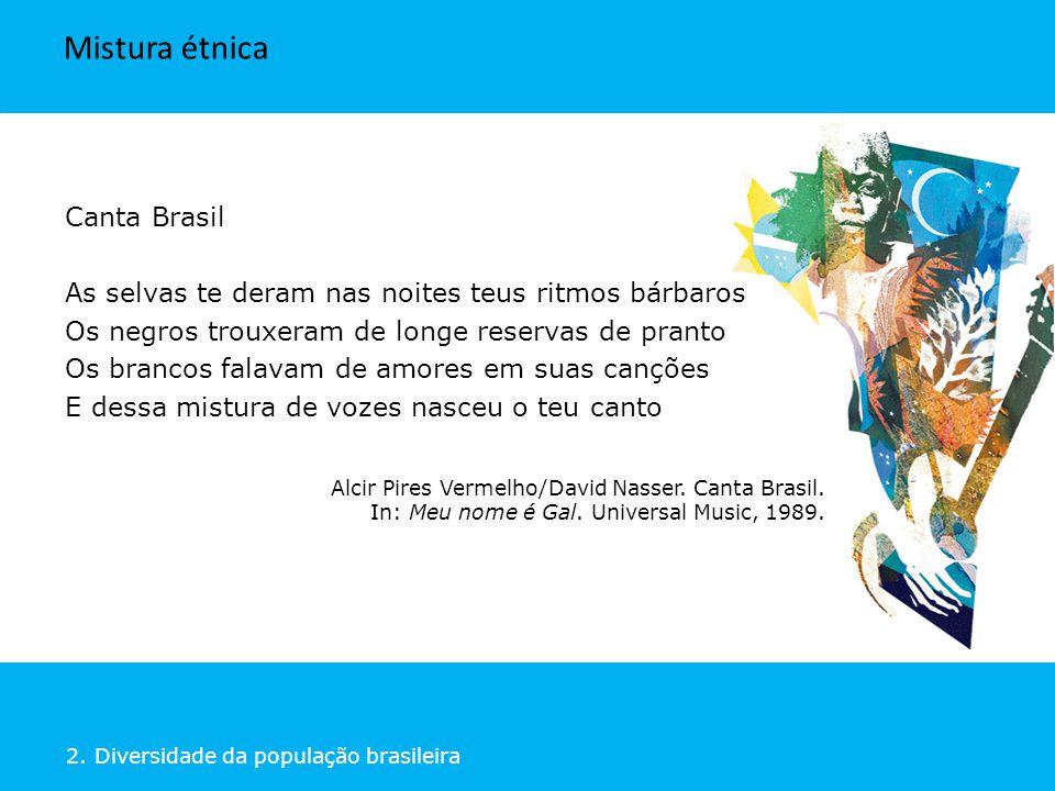2. Diversidade da população brasileira Canta Brasil As selvas te deram nas noites teus ritmos bárbaros Os negros trouxeram de longe reservas de pranto