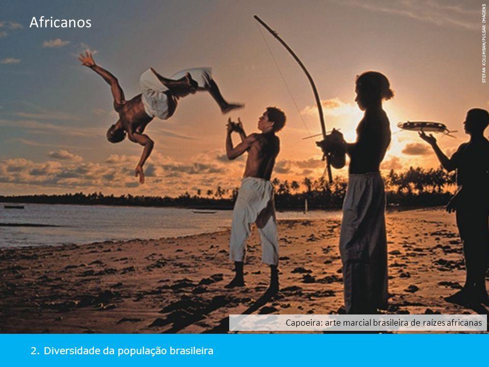 2. Diversidade da população brasileira Africanos STEFAN KOLUMBAN/PULSAR IMAGENS Capoeira: arte marcial brasileira de raízes africanas