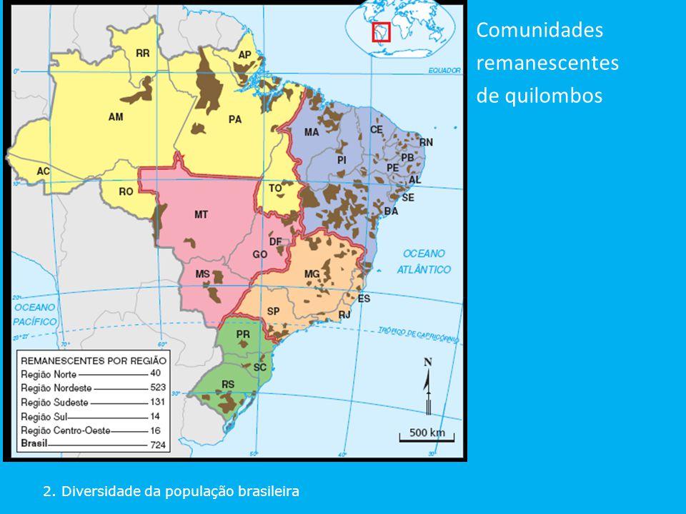 2. Diversidade da população brasileira Comunidades remanescentes de quilombos