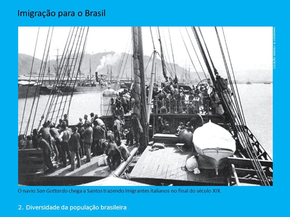 COLEÇÃO GAENSLY & UNDEMANN 2. Diversidade da população brasileira Imigração para o Brasil O navio San Gottardo chega a Santos trazendo imigrantes ital