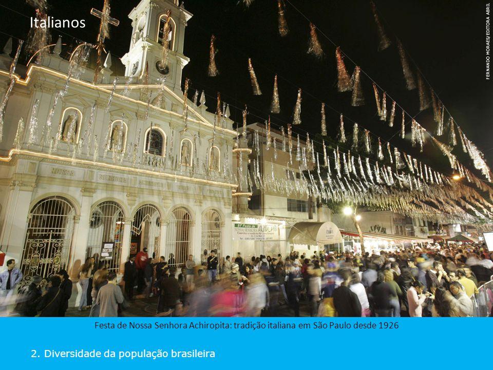 2. Diversidade da população brasileira Italianos Festa de Nossa Senhora Achiropita: tradição italiana em São Paulo desde 1926 FERNANDO MORAES/EDITORA