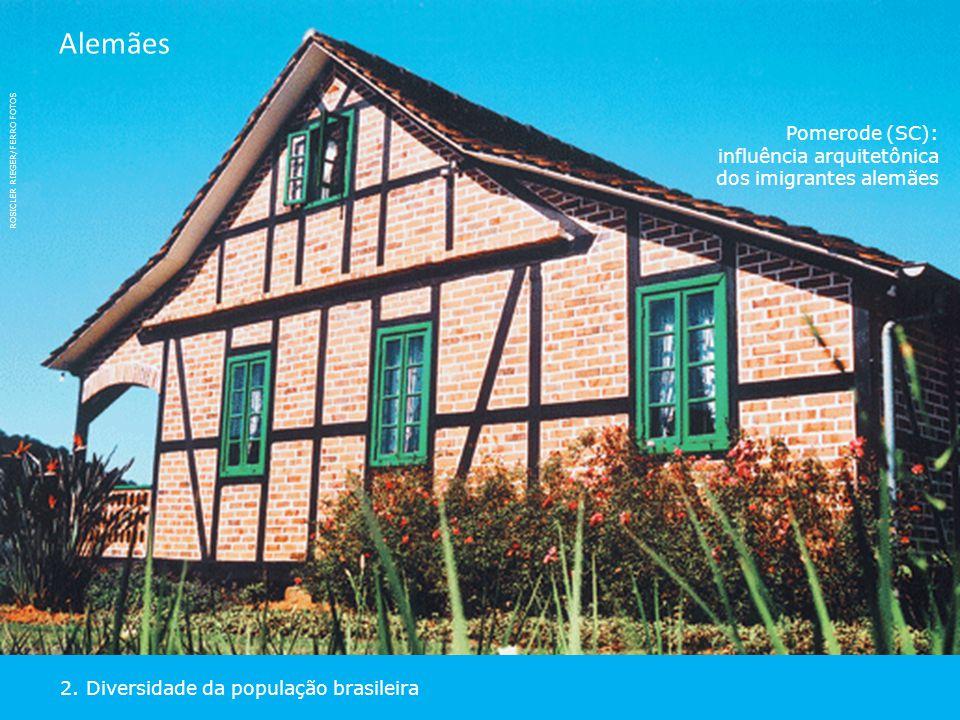 ROSICLER RIEGER/FERRO FOTOS Pomerode (SC):  influência arquitetônica dos imigrantes alemães 2. Diversidade da população brasileira Alemães