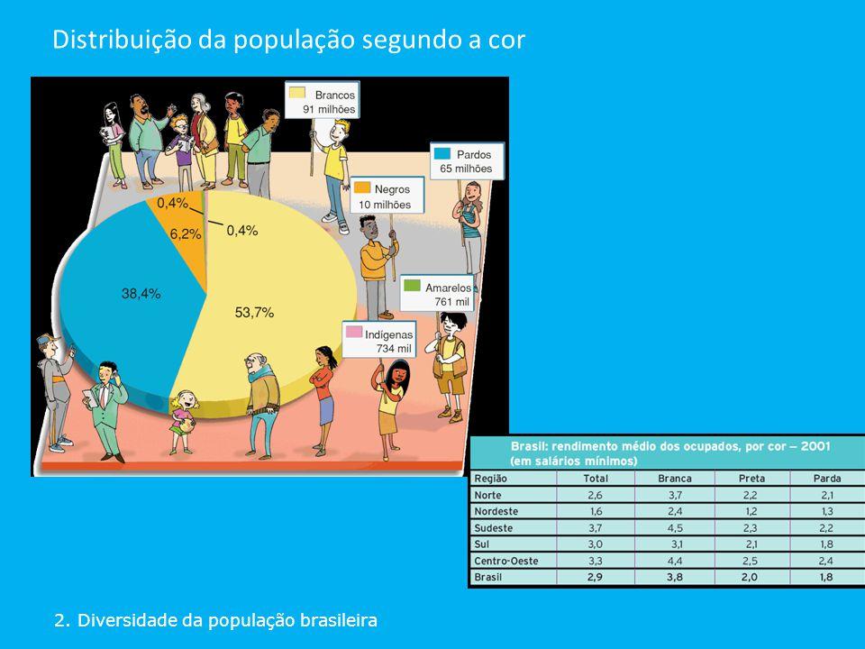 2. Diversidade da população brasileira Distribuição da população segundo a cor