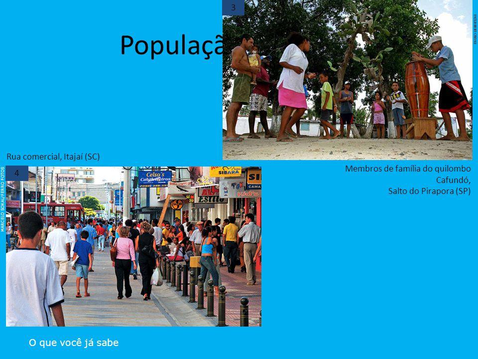 População brasileira O que você já sabe 3 MARCELO SOKAL/FERRO FOTOS Rua comercial, Itajaí (SC) 4 PAULO LIEBERT/AE Membros de família do quilombo Cafun