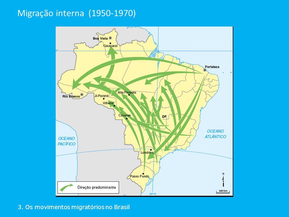 3. Os movimentos migratórios no Brasil Migração interna (1950-1970)