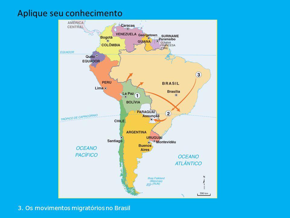 3. Os movimentos migratórios no Brasil Aplique seu conhecimento