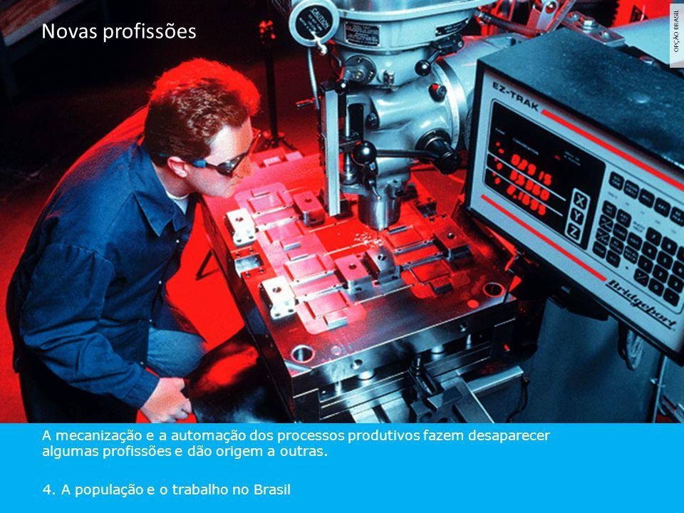 OPÇÃO BRASIL A mecanização e a automação dos processos produtivos fazem desaparecer algumas profissões e dão origem a outras. 4. A população e o traba