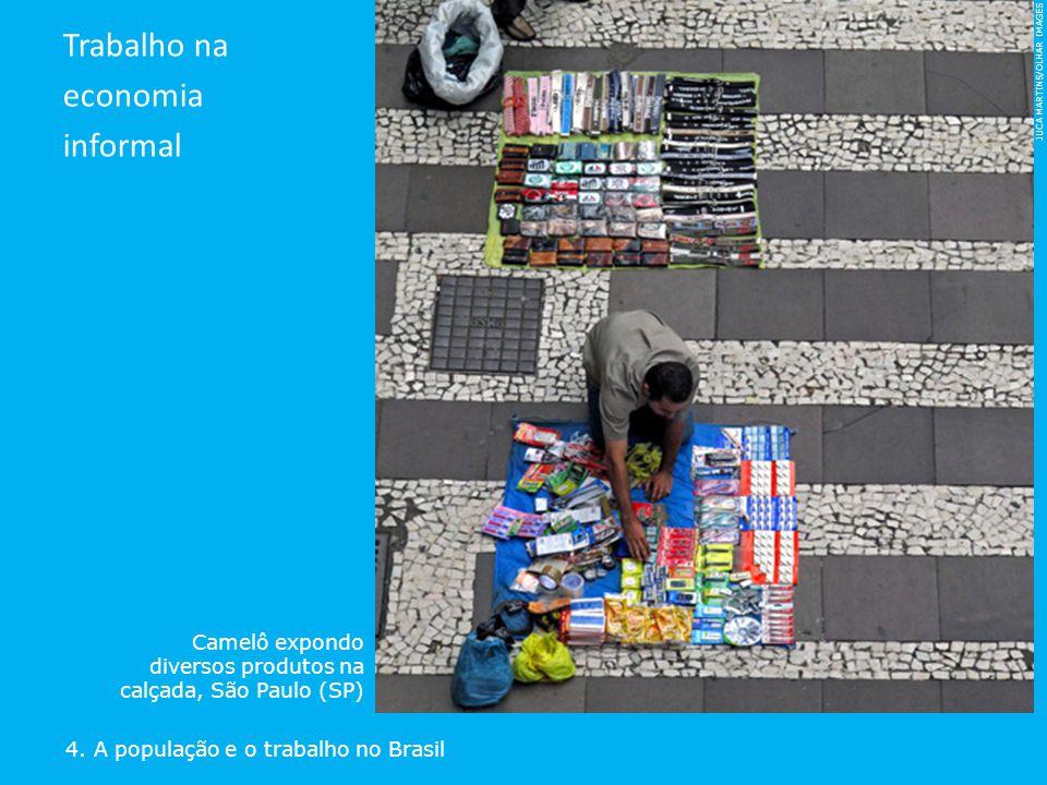 JUCA MARTINS/OLHAR IMAGES 4. A população e o trabalho no Brasil Trabalho na economia informal Camelô expondo diversos produtos na calçada, São Paulo (