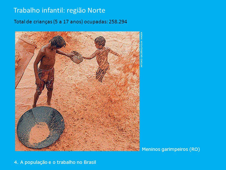 ANTONIO GALDÉRIO/FOLHA IMAGEM Meninos garimpeiros (RO) 4. A população e o trabalho no Brasil Trabalho infantil: região Norte Total de crianças (5 a 17