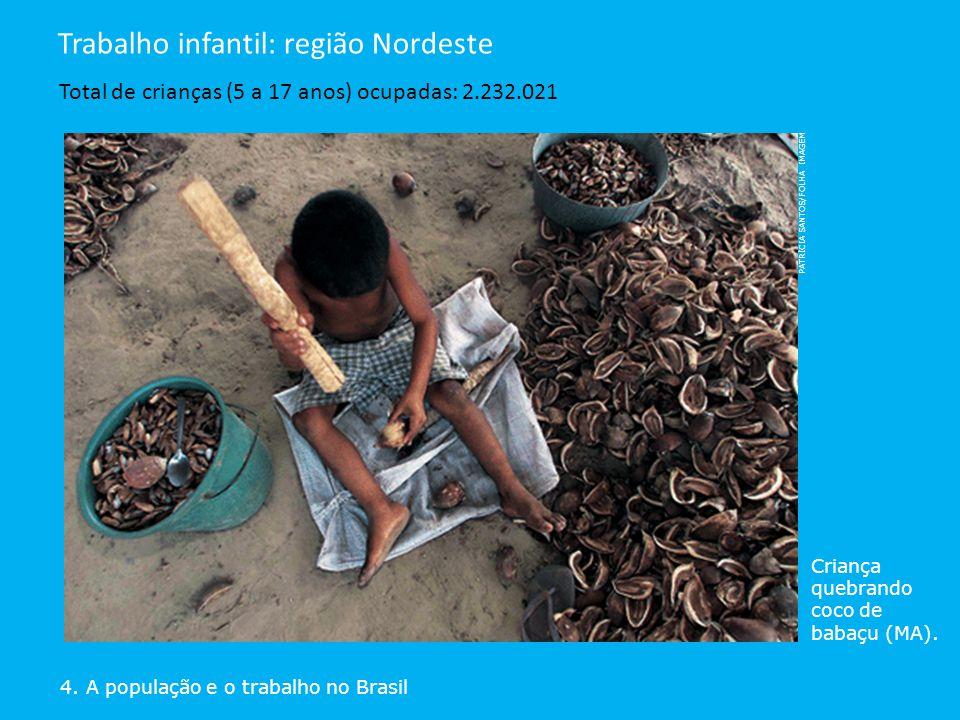 4. A população e o trabalho no Brasil Trabalho infantil: região Nordeste Total de crianças (5 a 17 anos) ocupadas: 2.232.021 Criança quebrando coco de