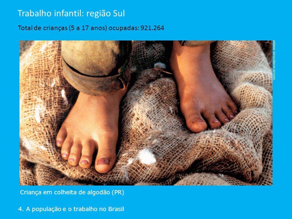 4. A população e o trabalho no Brasil Trabalho infantil: região Sul Total de crianças (5 a 17 anos) ocupadas: 921.264 Criança em colheita de algodão (