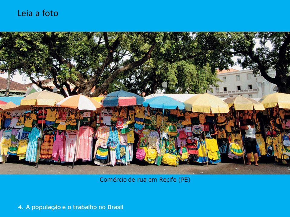 DELFIM MARTINS/PULSAR 4. A população e o trabalho no Brasil Leia a foto Comércio de rua em Recife (PE) DELFIM MARTINS/PULSAR