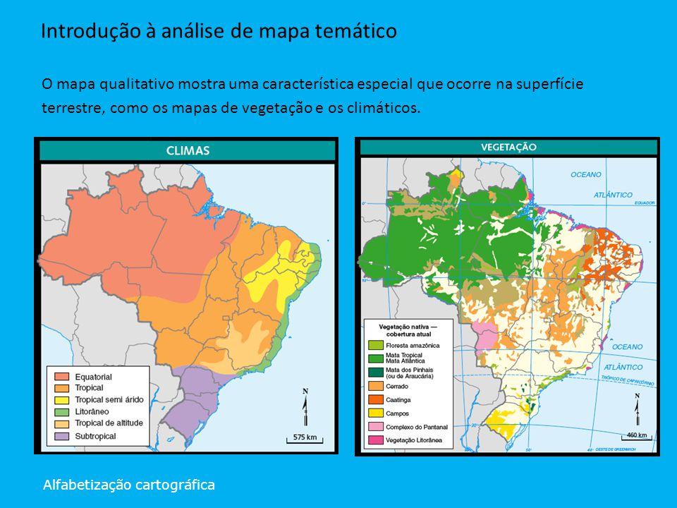 Alfabetização cartográfica Introdução à análise de mapa temático O mapa qualitativo mostra uma característica especial que ocorre na superfície terres