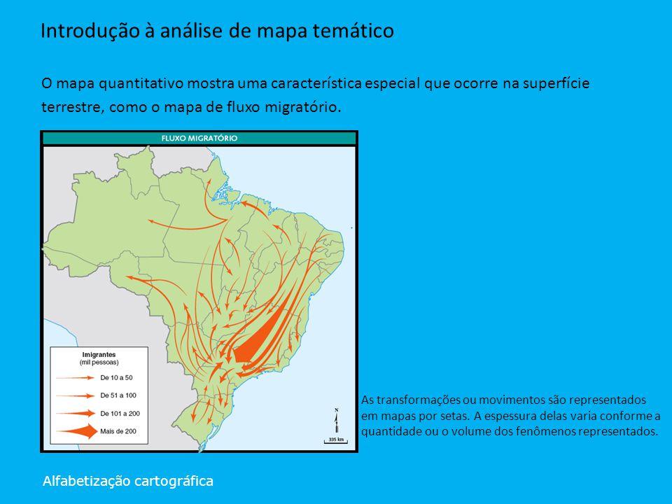 Alfabetização cartográfica Introdução à análise de mapa temático O mapa quantitativo mostra uma característica especial que ocorre na superfície terre