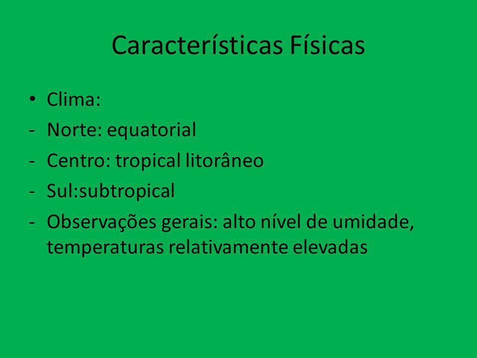 Características Físicas Clima: -Norte: equatorial -Centro: tropical litorâneo -Sul:subtropical -Observações gerais: alto nível de umidade, temperatura