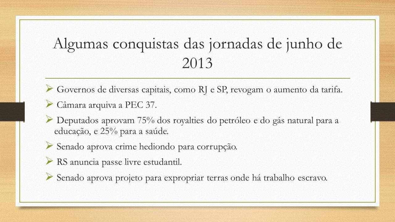 Algumas conquistas das jornadas de junho de 2013  Governos de diversas capitais, como RJ e SP, revogam o aumento da tarifa.