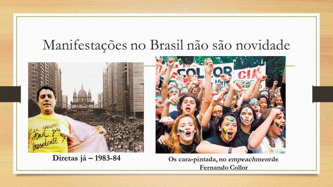 Manifestações no Brasil não são novidade Diretas já – 1983-84 Os cara-pintada, no empeachment de Fernando Collor