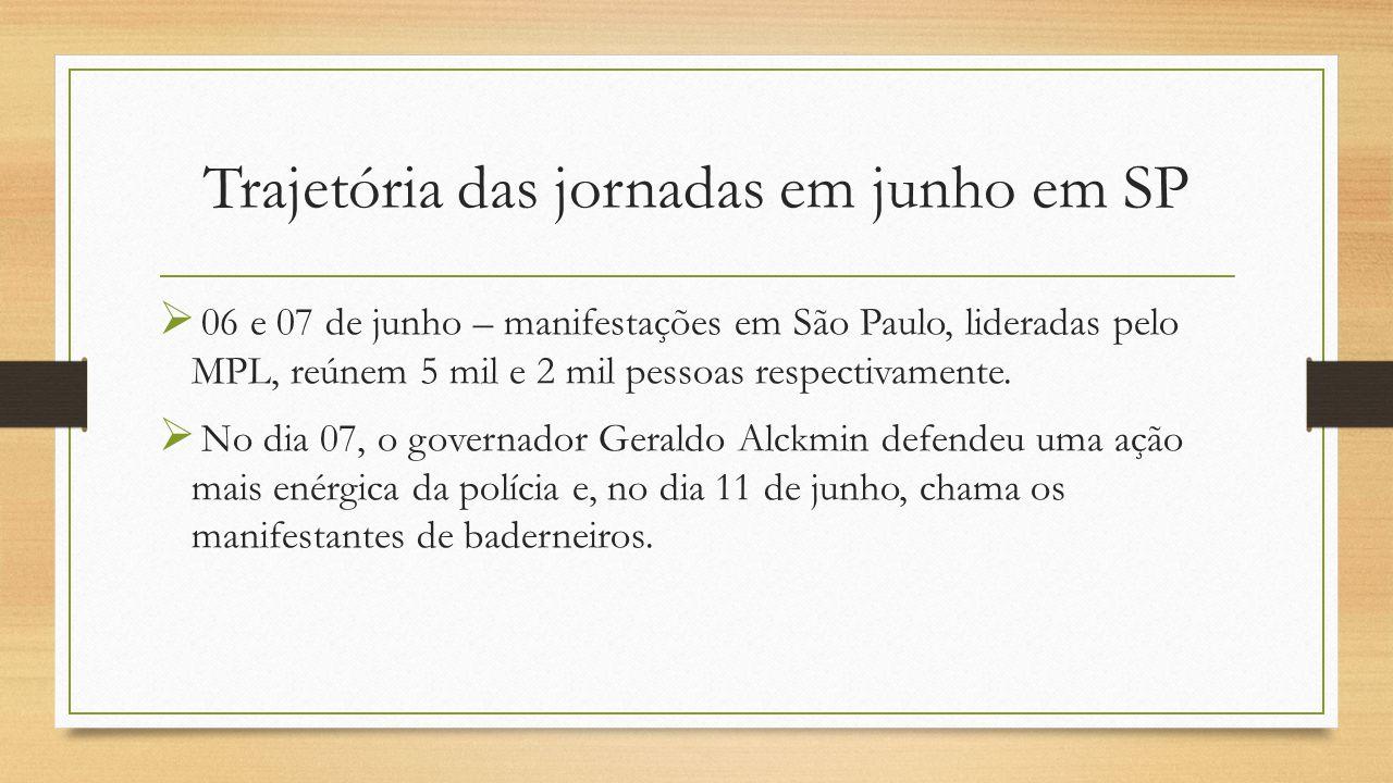 Trajetória das jornadas em junho em SP  06 e 07 de junho – manifestações em São Paulo, lideradas pelo MPL, reúnem 5 mil e 2 mil pessoas respectivamente.