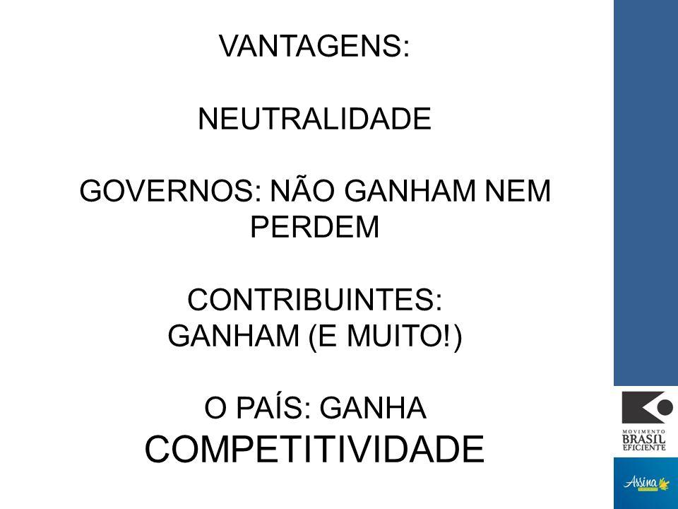 VANTAGENS: NEUTRALIDADE GOVERNOS: NÃO GANHAM NEM PERDEM CONTRIBUINTES: GANHAM (E MUITO!) O PAÍS: GANHA COMPETITIVIDADE
