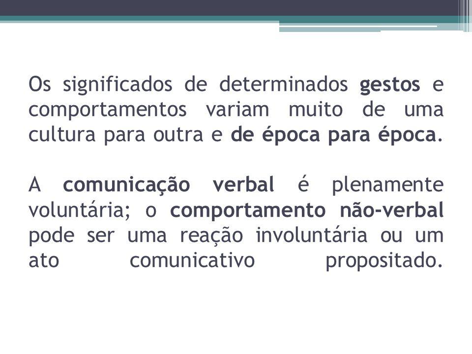 Os significados de determinados gestos e comportamentos variam muito de uma cultura para outra e de época para época. A comunicação verbal é plenament