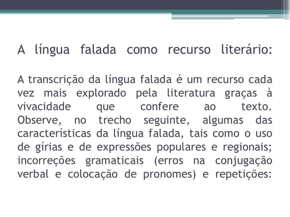 A língua falada como recurso literário: A transcrição da língua falada é um recurso cada vez mais explorado pela literatura graças à vivacidade que co