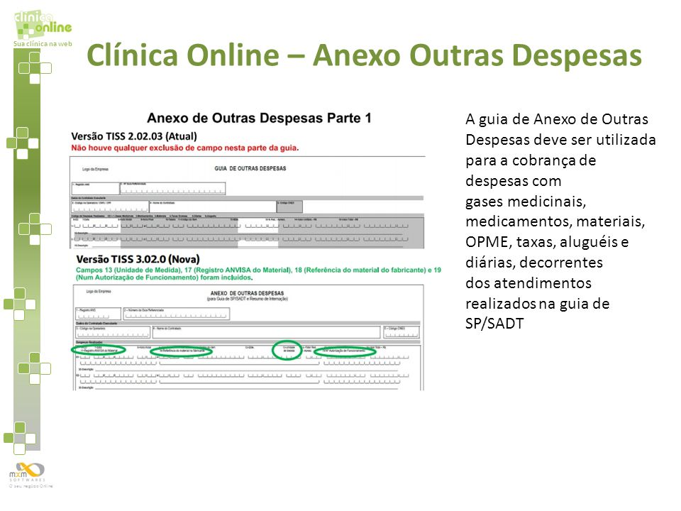 Sua clínica na web O seu negócio Online Clínica Online – Anexo Outras Despesas A guia de Anexo de Outras Despesas deve ser utilizada para a cobrança d