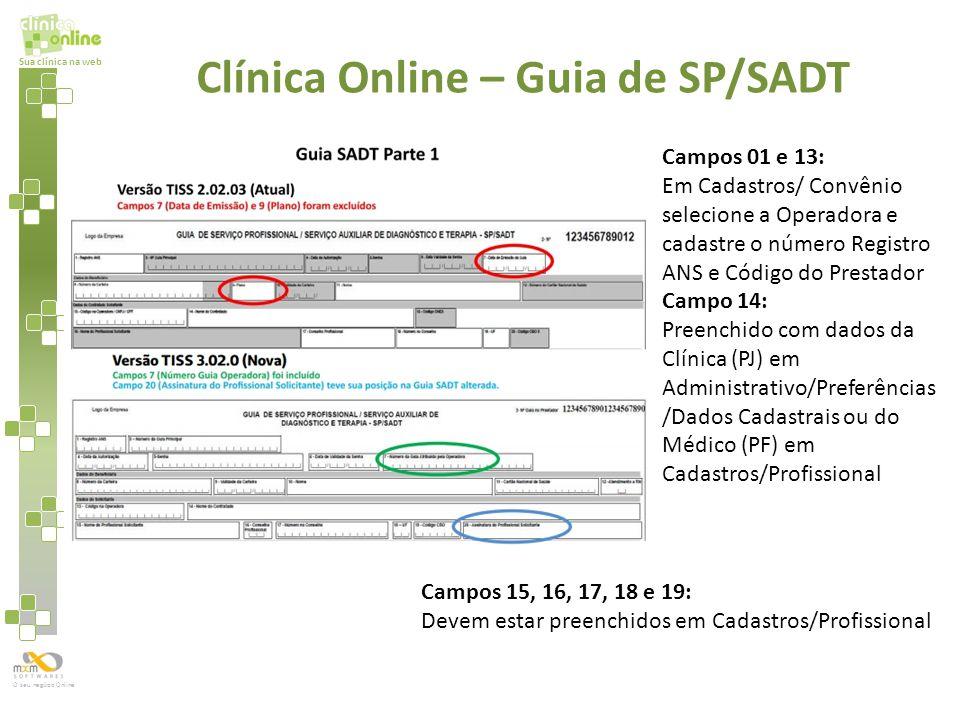 Sua clínica na web O seu negócio Online Clínica Online – Guia de SP/SADT Campos 29, 30 e 31: Administrativo/Preferências/ Dados Cadastrais, cadastre o CNES ou digite 9999999