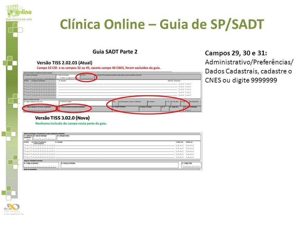 Sua clínica na web O seu negócio Online Clínica Online – Guia de SP/SADT Campos 29, 30 e 31: Administrativo/Preferências/ Dados Cadastrais, cadastre o
