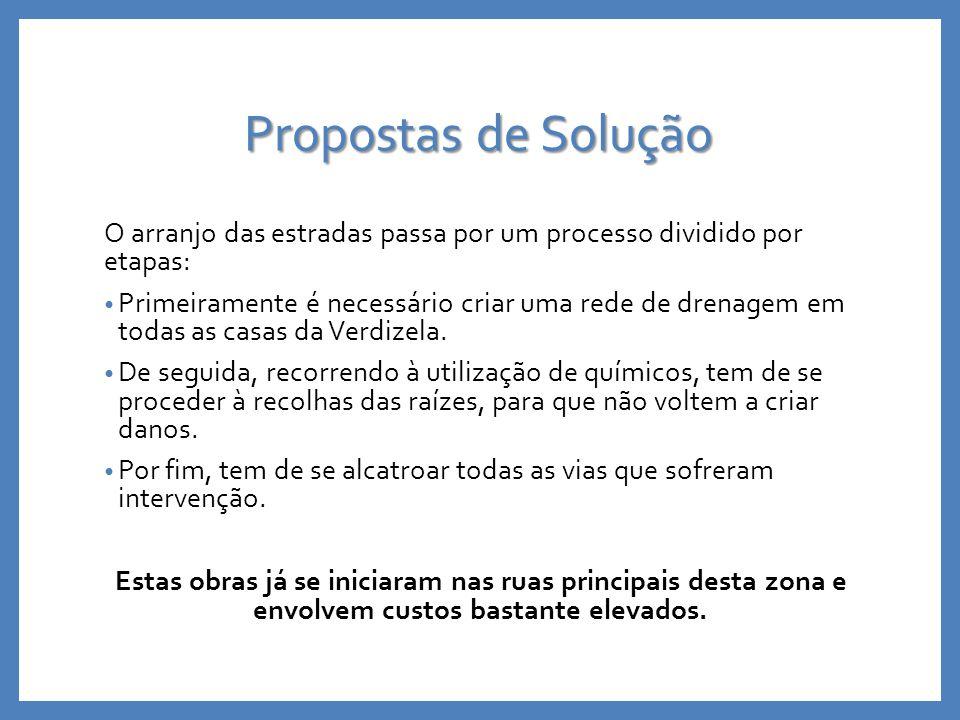 Propostas de Solução O arranjo das estradas passa por um processo dividido por etapas: Primeiramente é necessário criar uma rede de drenagem em todas as casas da Verdizela.