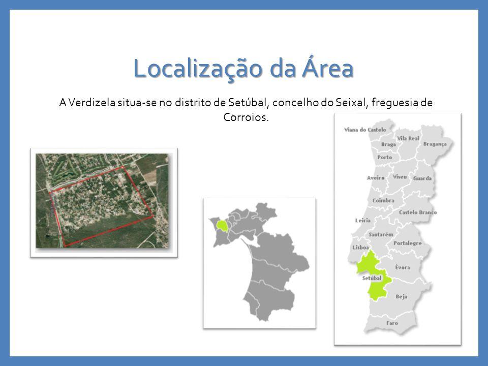 Localização da Área A Verdizela situa-se no distrito de Setúbal, concelho do Seixal, freguesia de Corroios.