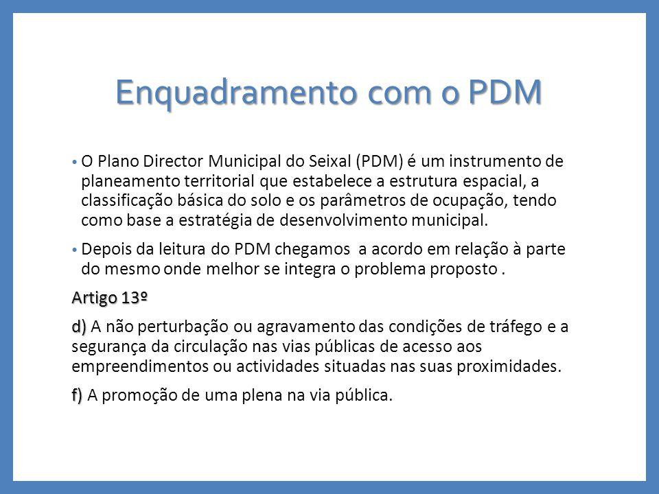 Enquadramento com o PDM O Plano Director Municipal do Seixal (PDM) é um instrumento de planeamento territorial que estabelece a estrutura espacial, a classificação básica do solo e os parâmetros de ocupação, tendo como base a estratégia de desenvolvimento municipal.