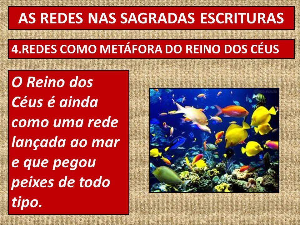 AS REDES NAS SAGRADAS ESCRITURAS 4.REDES COMO METÁFORA DO REINO DOS CÉUS O Reino dos Céus é ainda como uma rede lançada ao mar e que pegou peixes de todo tipo.