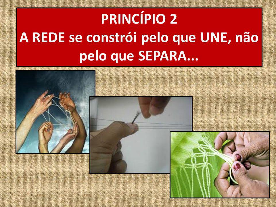 PRINCÍPIO 2 A REDE se constrói pelo que UNE, não pelo que SEPARA...
