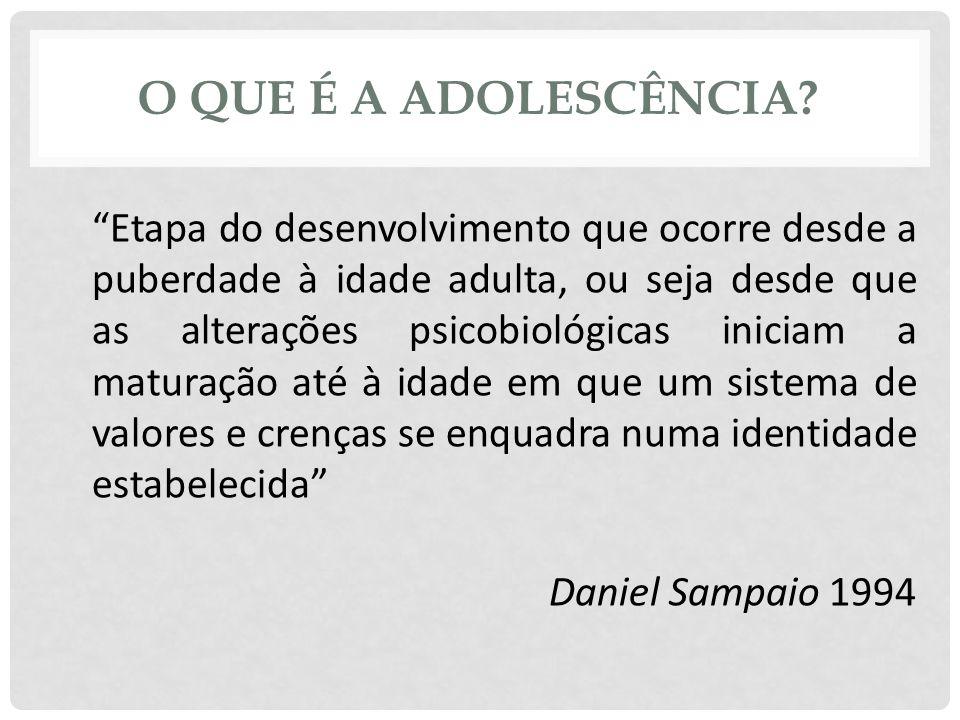 """O QUE É A ADOLESCÊNCIA? """"Etapa do desenvolvimento que ocorre desde a puberdade à idade adulta, ou seja desde que as alterações psicobiológicas iniciam"""