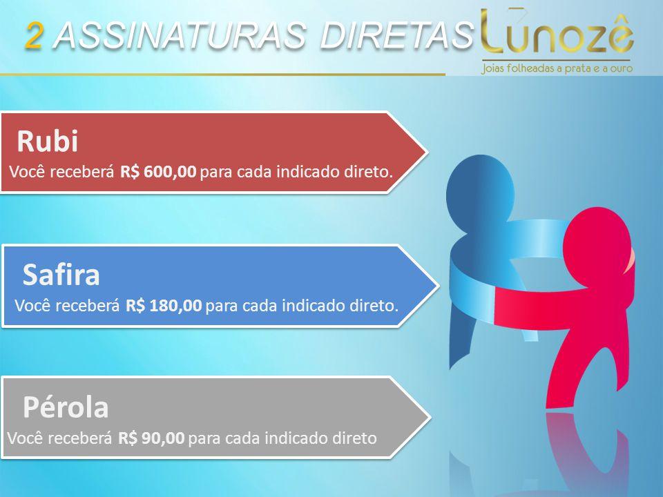2 ASSINATURAS DIRETAS Pérola Você receberá R$ 90,00 para cada indicado direto Safira Você receberá R$ 180,00 para cada indicado direto. Rubi Você rece