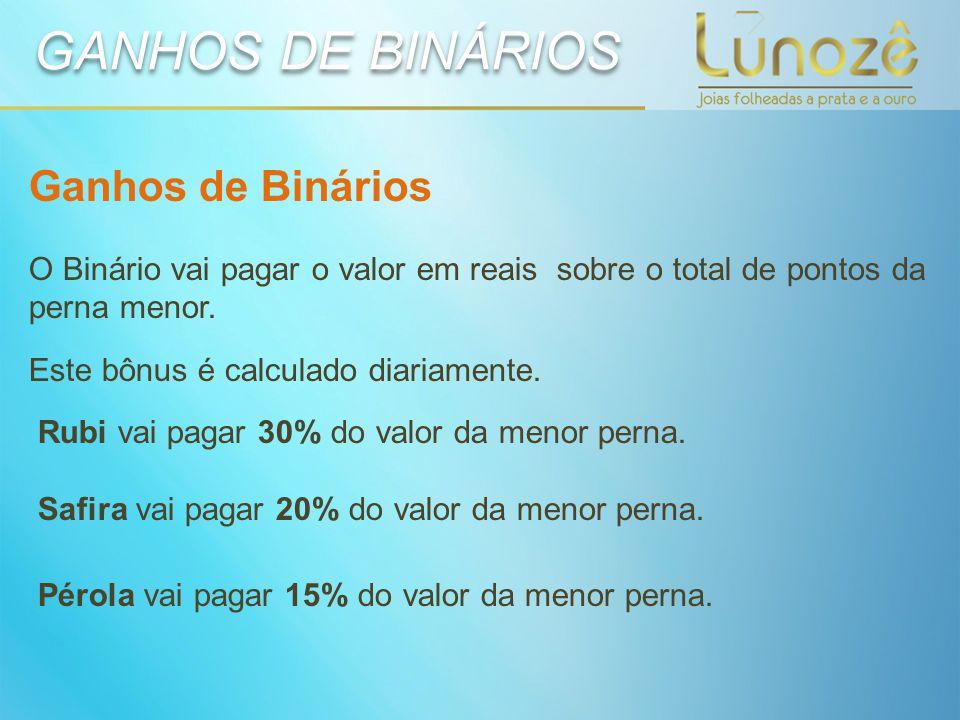 GANHOS DE BINÁRIOS Ganhos de Binários O Binário vai pagar o valor em reais sobre o total de pontos da perna menor. Este bônus é calculado diariamente.