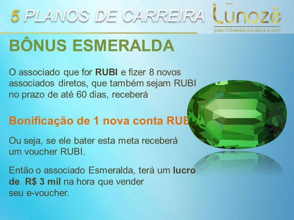 BÔNUS ESMERALDA O associado que for RUBI e fizer 8 novos associados diretos, que também sejam RUBI no prazo de até 60 dias, receberá Bonificação de 1