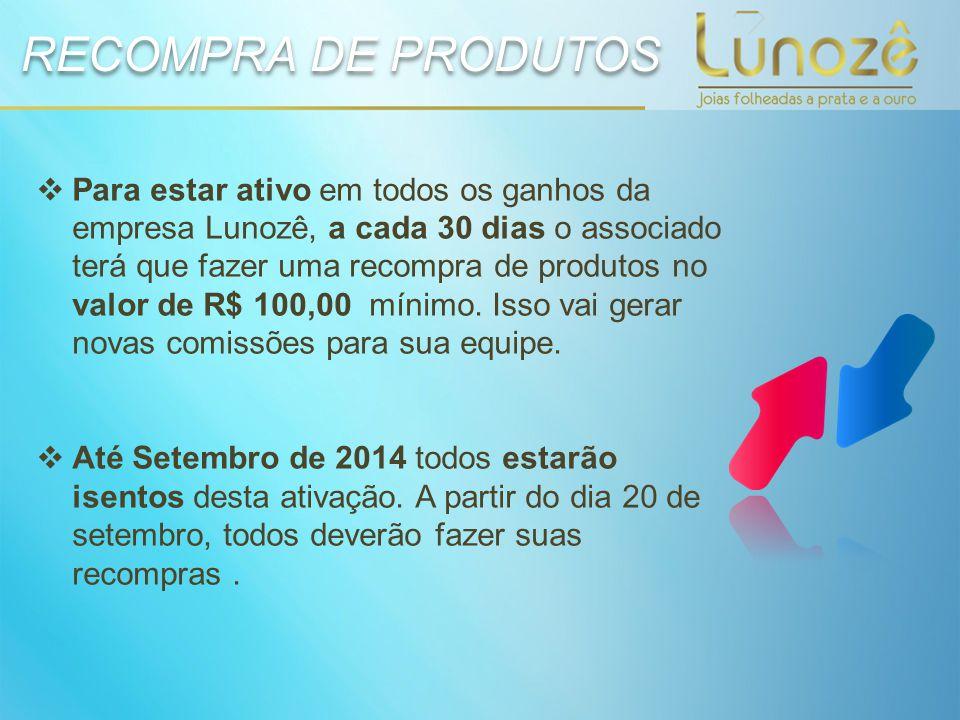  Para estar ativo em todos os ganhos da empresa Lunozê, a cada 30 dias o associado terá que fazer uma recompra de produtos no valor de R$ 100,00 míni